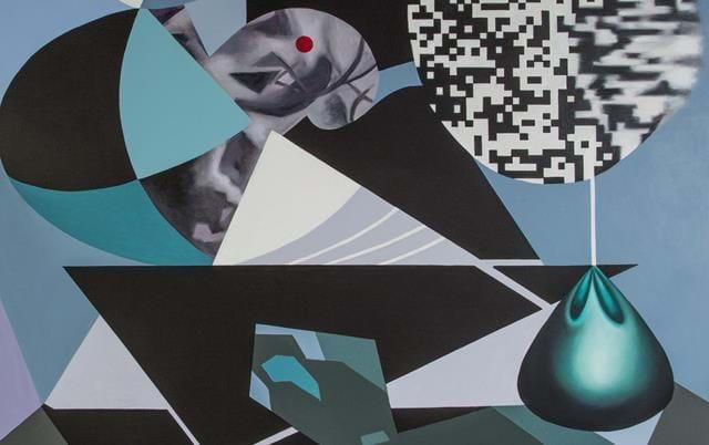 Konst av Viktor Chapovalov till utställningen Speglingar. Hallands kulturhistoriska museum har bjudit in tio samtida halländska konstnärer att inspireras av en mångfald konsthistoriska verk ur samlingarna och skapa egna, nya verk. Viktor Chapovalov valde verk av Pierre Olofsson, Carl Magnus och Olle Baertling ur museets samlingar.