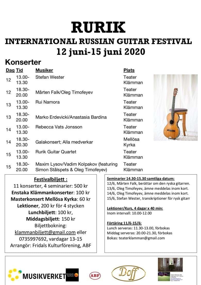 Europas första festival för rysk 7 strängad gitarr. Aldrig förr har vår världsdel haft en liknande festival. Elva härliga konserter, fyra seminarier, möjlighet att ha fyra lektioner på fyra dagar. Gitarreliten kommer att vara på plats, Nio av världens bästa gitarrister kommer till festivalen.