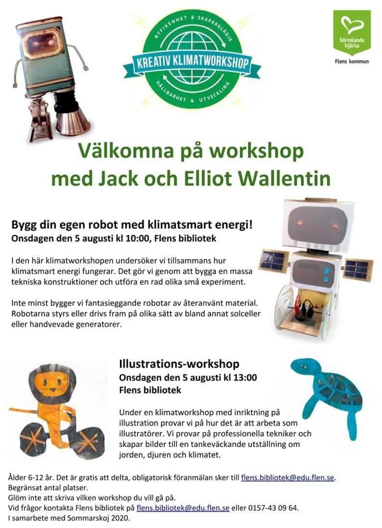 Flens bibliotek erbjuder två roliga workshops på 2 timmar vardera med inriktning på kreativitet och klimat!